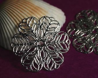 Closeout Silver plated flower wrap/dangle 28mm, 6 pcs (item ID YWASXH00492)