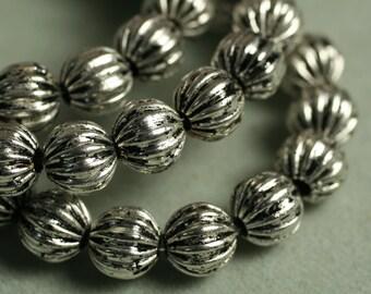 SALE Antique silver corrugated round 6mm, 15-inch strand (item ID YWASHM00123)