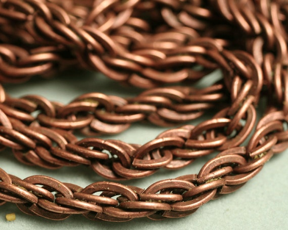Antique copper rope chain with large link, link size 7.5x4.5mm, a pack of 5 FT (item ID YWAC1.0JMH)