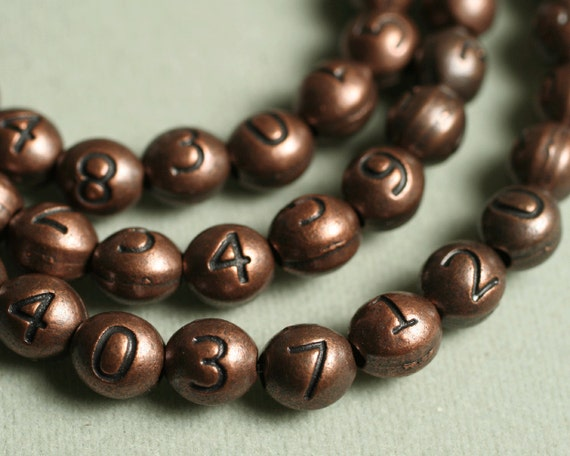 Antique copper number beads 0 to 9, size 7x6mm oval, pick your choice (item ID YW3DACNumber)