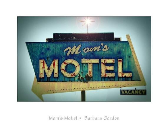 Moms Motel - 16 x 20 Vintage Road Sign Photographic Print