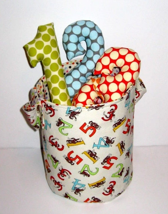 READY TO SHIP  - Counting Stuffed Number Toy Bucket - Sock Monkey