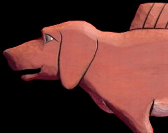 Dogs, Dacshund Dogfish - 2 ft., Hand Carved by Gary Borgnis