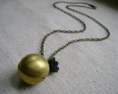ball locket necklace - black locket necklace - flower locket necklace - bridesmaid necklace