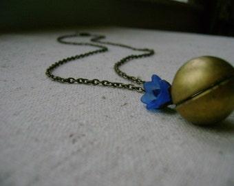 ball locket necklace - bright blue