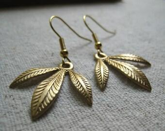 triple leaf earrings matte gold tone
