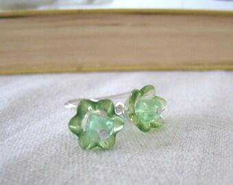 SALE - pale green floral earrings