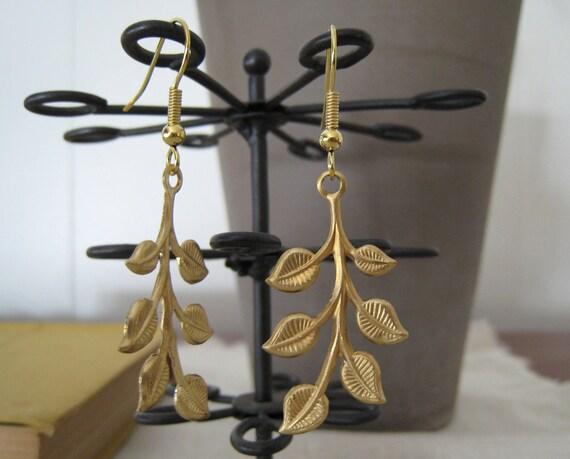 golden leaf branch earrings