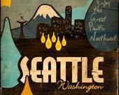 Vintage Travel Advertisement Series - Seattle, Washington - 12x12