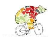 Bear On Bike Art - Bears On Bikes Art Print