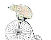 Items similar to old timer bears on bikes art print on etsy for T shirt printing lakewood ohio