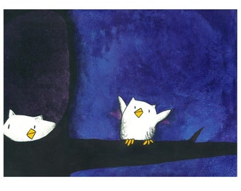 Owl Play Peek-a-who - Childrens Art Print