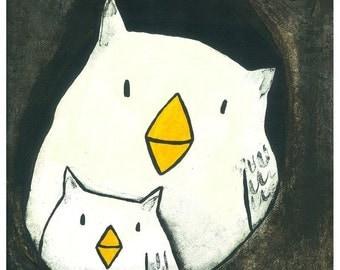 Hello Owls - Childrens Art Print