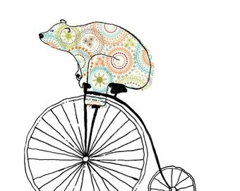 Old Timer - Bears On Bikes Art Print