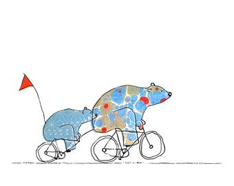 Trail-a-Bear - Bears On Bikes Art Print