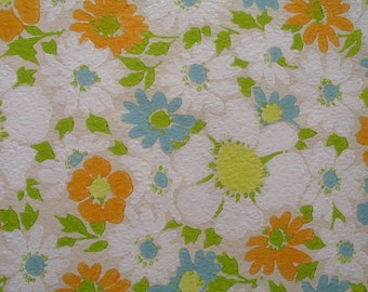 Vintage Orange Daisy Flower Pattern Wallpaper