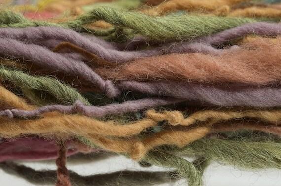 Rainbow Warrior 3 naturally dyed  handspun local fiber eco friendly yarn  284 yards