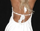 SPECIAL SALE PRICE  -- Babydoll Inspired white backless halter shredded t shirt --  handmade to fit You -- size xxs up to xxl