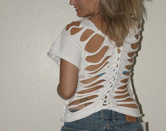 custom see through shredded t shirt  --  deconstructed, DIY  --  made to fit YOU