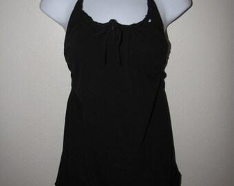 BABYDOLL INSPIRED black backless DIY halter shredded t shirt