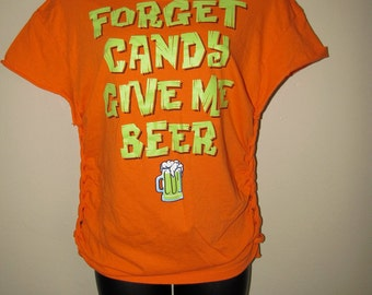 Clearance items 70% off - Halloween inspired Glow In The Dark shredded t shirt size EXTRA SMALL, XS