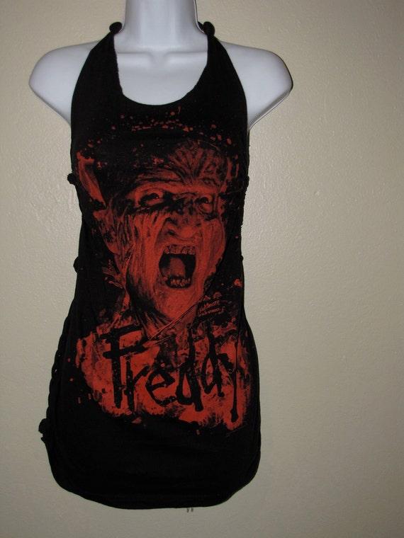 FREDDY KREUGER A Nightmare on Elm Street backless shredded halter t shirt