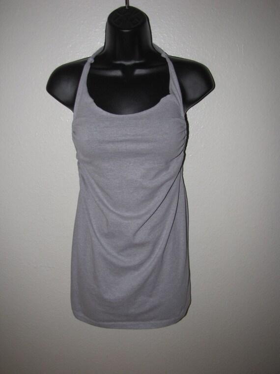 gray backless halter shredded t shirt --  tunic / MICRO MINI dress  --  handmade to fit YOU