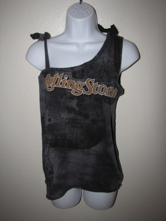 ROLLING STONE MAGAZINE deconstructed cut couture t shirt -- size Medium, M