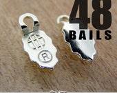48 EARRING BAILS - Silver Plated Aanraku Glue Pad Earring Bails