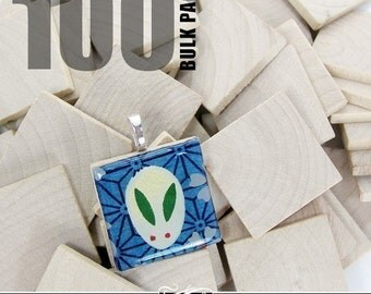 "100 Pack of 1"" Craft Wood Squares. Use instead of Scrabble Tiles for Pendants, Magnets. Scrapbooking, and More."