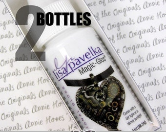 Two Bottles of Magic Glos by Lisa Pavelka UV Glaze for Polymer Clay. UV Resin is Waterproof.