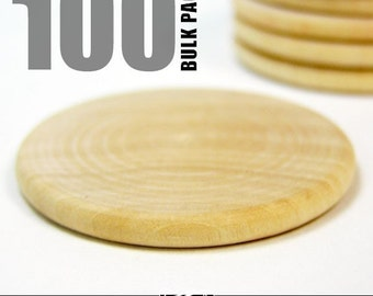 100 Round 1.5 Inch Wood Disks for Pendants, Magnets, Scrapbooking, and More. Bulk Lot.