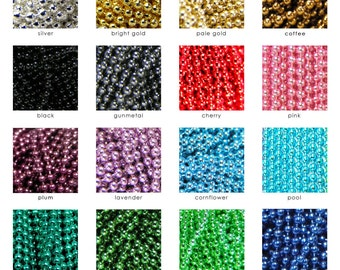 Colored Chains. BEST QUALITY Guaranteed. 50 Petite 1.5mm Colored Ball Chains. Choose Your Colors. Annie Howes.