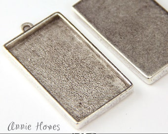 Large Rectangle Bezel Pendant Tray Setting in Gorgeous Antique Silver Finish.