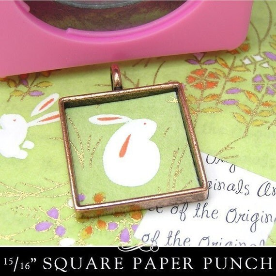 Square Paper Punch for Square 24mm Bezel Cup Pendants. Easy View Window. 15/16 inch