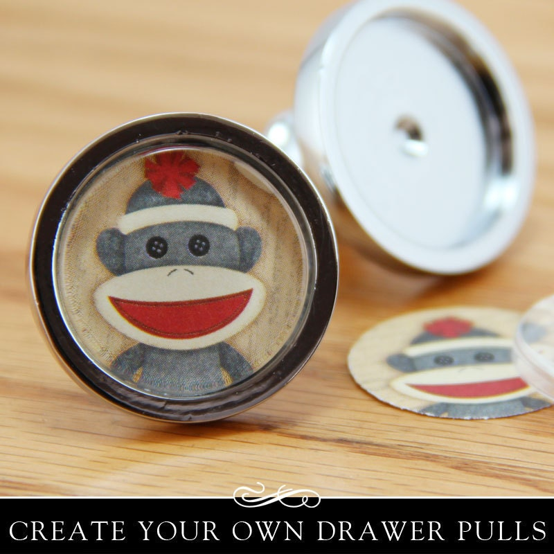 Diy Drawer Pull Kit Silver Drawer Or Cabinet Knob With Clear