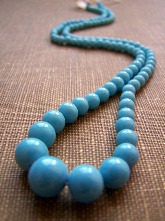 Vintage Graduated Glass Strand  SKY BLUE  one strand