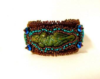 chameleon beaded cuff bracelet