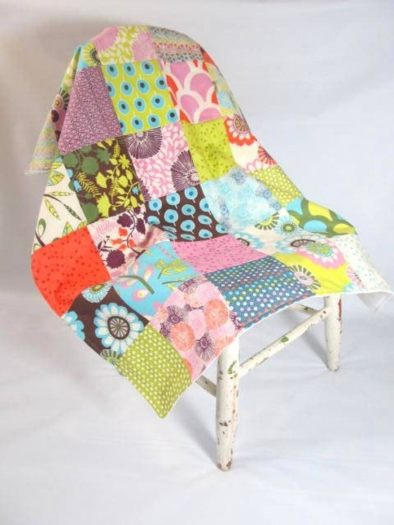 Modern Baby Girl Patchwork Blanket made with Sugar Pop fabric
