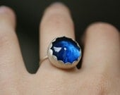 Ocean blue glass sterling silver ring with scalloped bezel