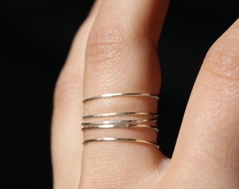 Sterling silver stacking rings set of 5, ultra thin, skinny silver stackable rings, silver stacking rings, hammered silver ring