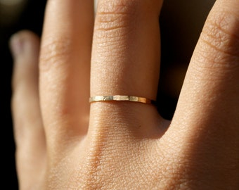 Thread of Gold stacking ring, one single ring, hammered 14k gold fill ring, 14k gold fill stack ring, single gold ring, delicate ring