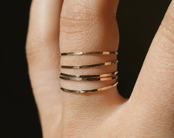 Gold Stacking rings, set of 5, 14k gold fill stackable ring, ultra thin, hammered gold ring, delicate gold rings, gold stack ring