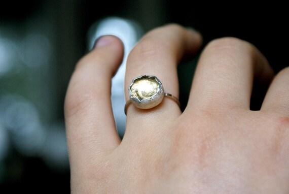 Mini Gold Foil ring band sterling silver scalloped bezel set