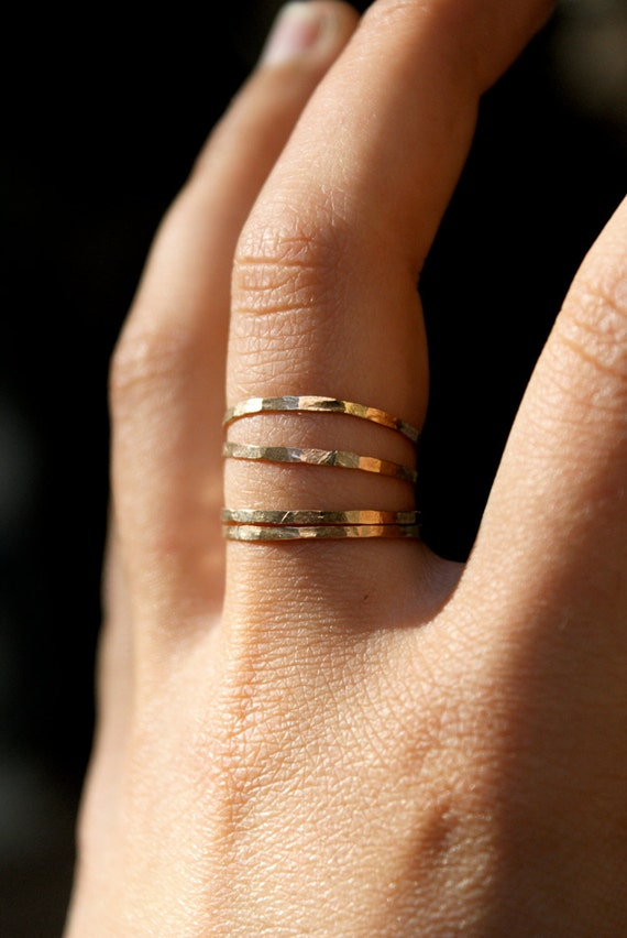 Gold stack rings, set of 4, Medium Thickness, gold fill stacking rings, delicate gold stack ring, hammered gold ring, thin gold