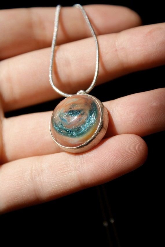 SALE -- Teal Sparkle and Swirl Pendant necklace