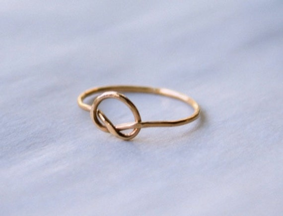 Thread of Gold Knot ring, gold infinity ring, 14k gold fill knot ring, hammered gold ring, 14k goldfill love knot ring, gold knot ring