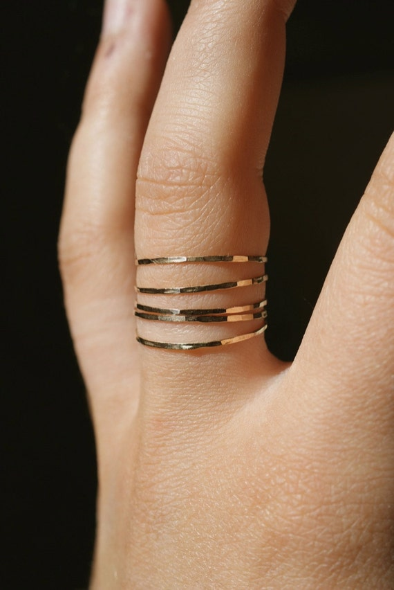 Ultra Thin Gold Filled stacking rings set of 5, 14K gold fill stacking rings, skinny gold stacking ring, hammered gold ring, set of 5