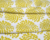 Protea fabric (yellow ochre on white) - 65cm wide