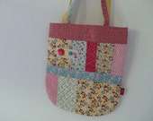 Retro Floral Patchwork Quilted Tote